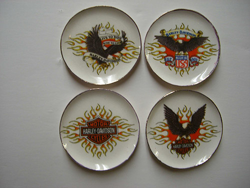 Harley Davidson Dishes & Harley Davidson Dishes [CDD436] - $18.80 : Dollhouse Miniatures By ...